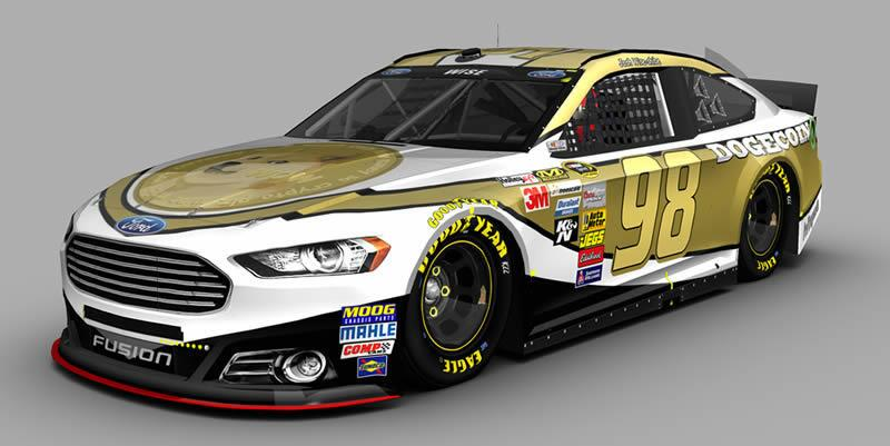 One possible design for Josh Wise's Dogecoin-sponsored NASCAR car.
