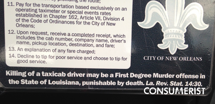 "Louisiana, Where Killing A Cab Driver ""May"" Be Considered Murder"
