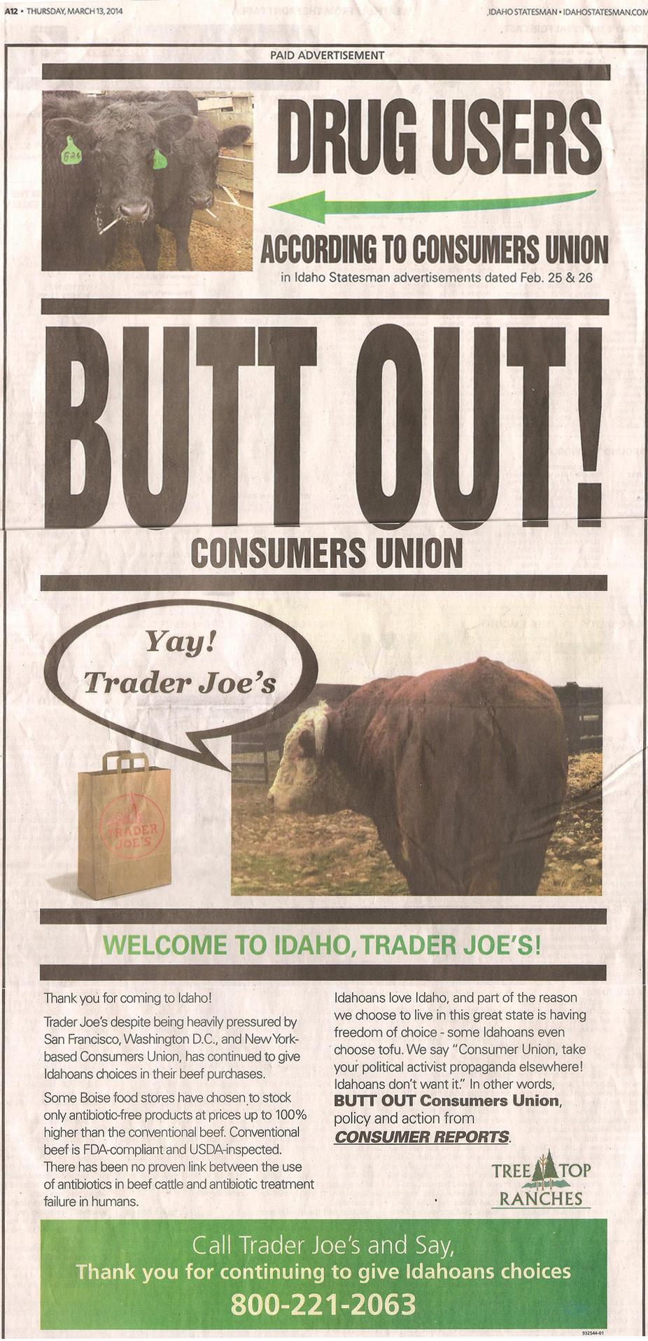 One of the ads run by a local farmer in The Idaho Statesman. Click to see full-size.