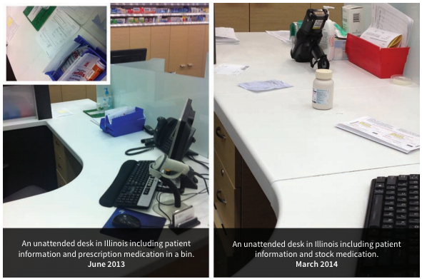 Two examples of unattended Walgreens pharmacists' desks (source: Change to Win)
