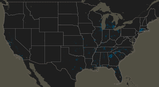 The parts of the country where AT&T provides broadband access, via the National Broadband Map.