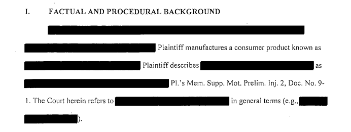 It doesn't take very long to read the court documents in Company Doe's lawsuit against CPSC, since most of it is redacted.