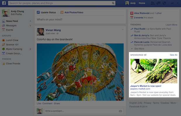 What the new Facebook ads will look like: Bigger asparagus, fewer ads.