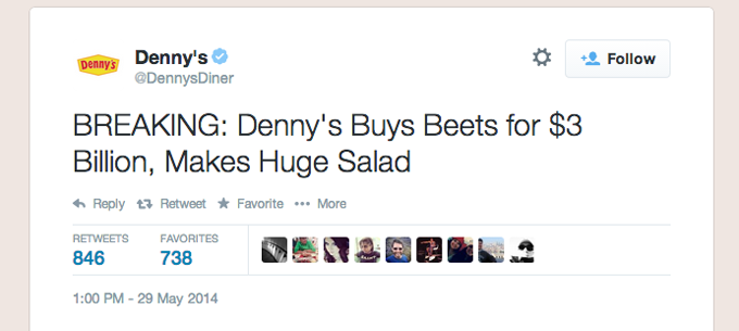 Denny's Tweets About Vegetable Acquisition, Wins At Brand Social Media