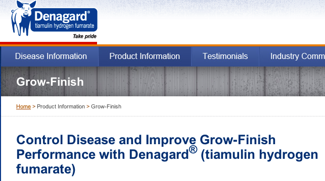 The website for Novartis antibiotic feed-additive Denagard had an entire page dedicated to the drug's growth-promotion effects.