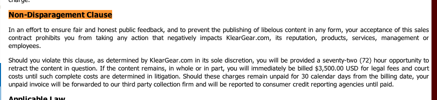 The Terms of sale on the KlearGear website included this Non-Disparagement Clause that tried to put customers on the hook for $3,500 if they dared to complain about bad transactions.
