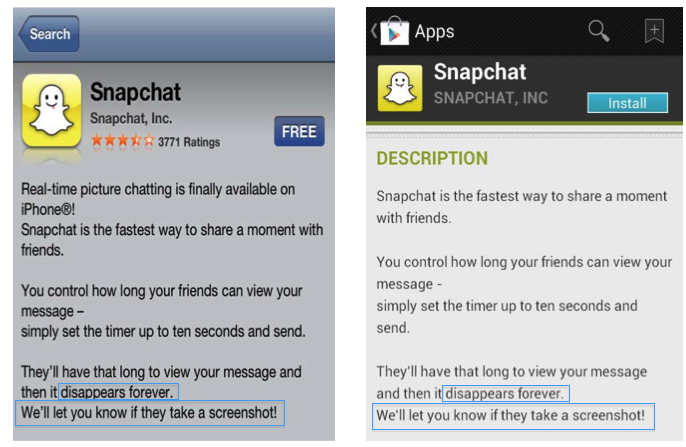"The FTC alleges that Snapchat's promises of messages that ""disappear forever"" after 10 seconds, and that users would be notified if a message recipient made a screen grab of that message, were misleading."