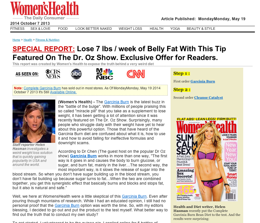 "Yes, that's the Women's Health logo and byline on this site, but this is no Women's Health story, and there is no ""staff reporter Helen Hasman working there."""