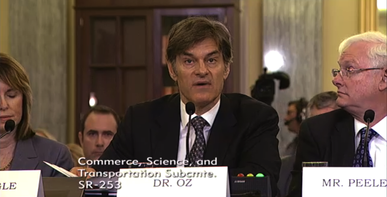 Dr. Oz testifying in June 2014 before a Senate consumer protection subcommittee.