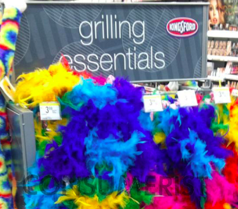 "At Walgreens, Nothing Says ""Grilling Essentials"" Like Colorful, Highly Flammable Feather Boas"