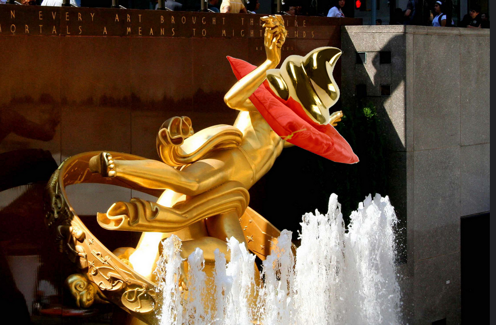 Our resident artist's rendition of what Comcast will do to the Prometheus Fountain at Rock Center (photo: Michael Colwell)