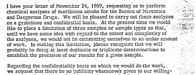 From a letter in which Philip Morris pretends that the Justice Dept. asked it to conduct marijuana research for free.