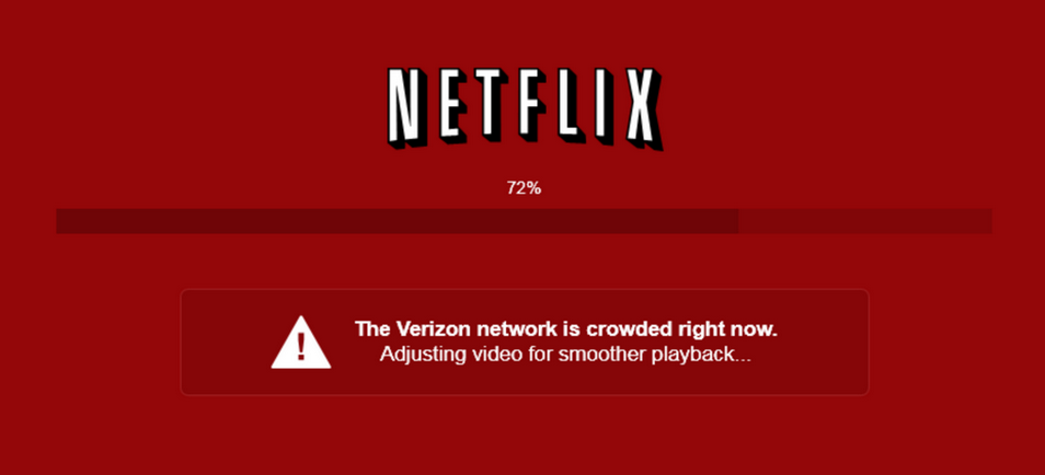 Earlier this year, Netflix customers with slow connections saw messages like this one, putting the blame on their Internet service provider.
