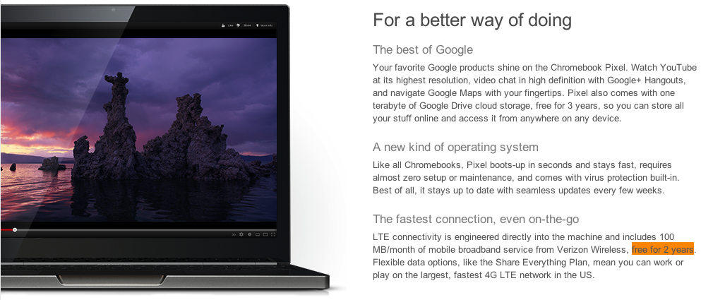 This is a screengrab of how the Chromebook Pixel was sold on the Google Play store in 2013. As you can see, it clearly states the price includes 2 free years of 100/MB of LTE data from Verizon.