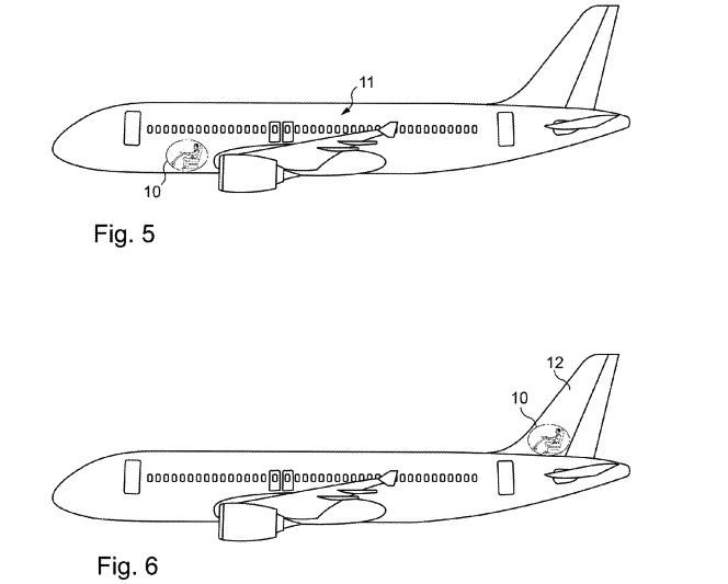 "The Airbus patent suggests two alternate, windowless locations for the pilot's ""viewing platform."""