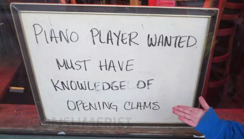 If You Dream Of Playing Piano While Shucking Clams, We Know A Place That's Hiring
