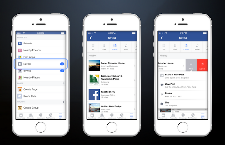 Here's what the new Save feature looks like on Facebook's mobile app. (Facebook)