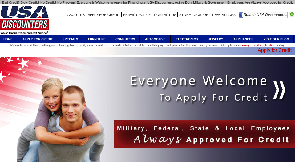 The USA Discounters website advertises its financing for military servicemembers and government employees.