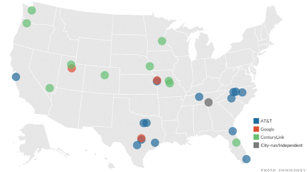 CNN Money's colorful but very misleading map about the expansion of gigabit fiber networks in the U.S.