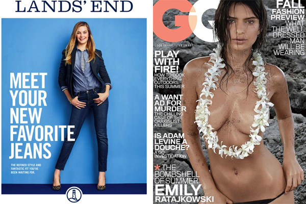 A recent Lands' End catalog on the left. The GQ that caused the uproar on the right.