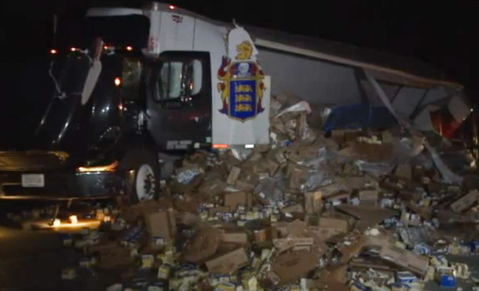 Truck Crash Coats Indiana Highway In Margarine, Whipped Cream