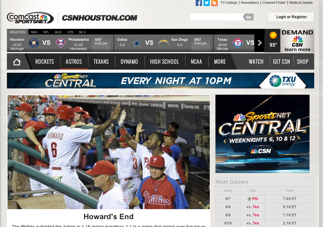 The purpose of this screengrab isn't just to show what the CSN Houston website used to look like, but to remind myself that the Phillies occasionally won a game.