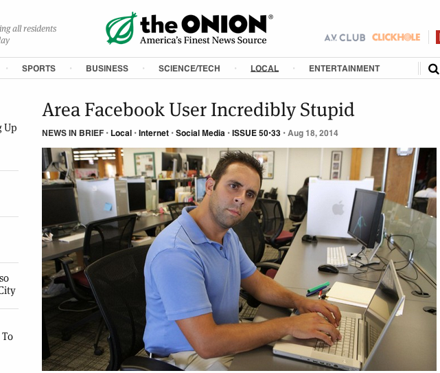 The Onion Reacts To Facebook's Hand-Holding Of Your Idiot Friends