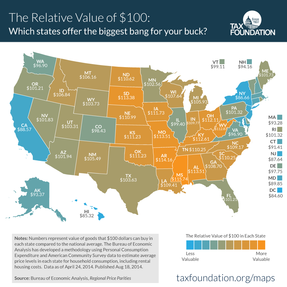 How Far Does $100 Go In Your State? Here's A Map That Shows You