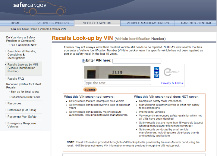 NHTSA Launches Online Search Tool So Consumers Can Find Out