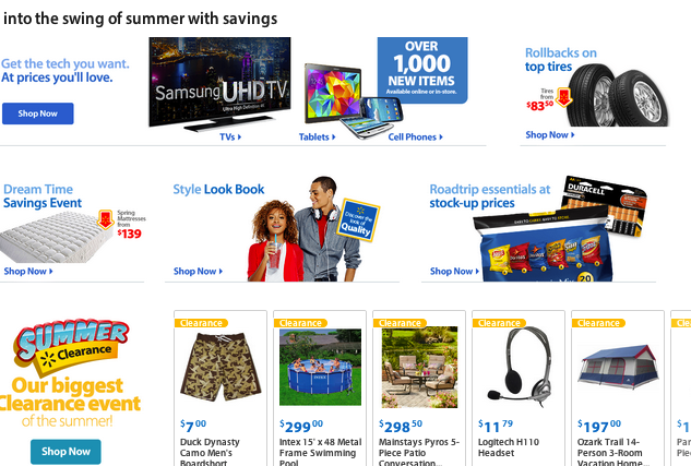 Currently, visitors to Walmart.com reach a standard homepage with no personalization and few things to buy.