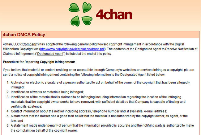 4chan has introduced a formal takedown request policy in line with the Digital Millennium Copyright Act. [via TorrentFreak]