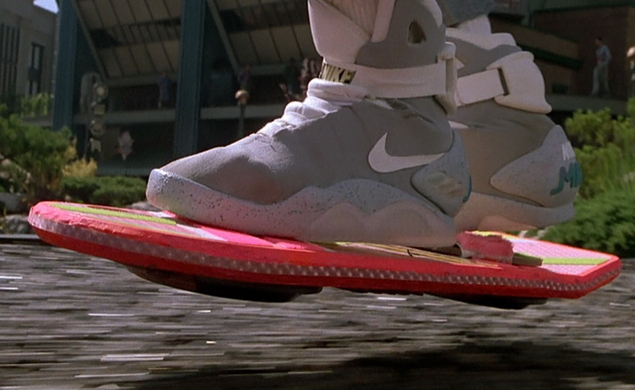 The sneakers as they appeared in the 1989 movie. Hoverboard not included.