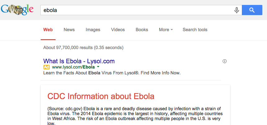 Lysol Buys Google Search Ads To Take Advantage Of Ebola Panic