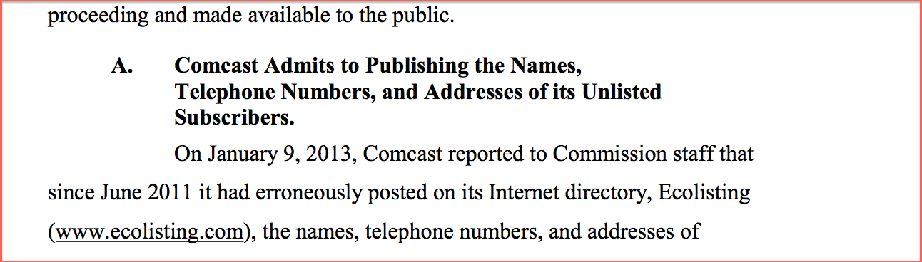 Comcast Charged For Unlisted Phone Numbers, Listed Them Anyway