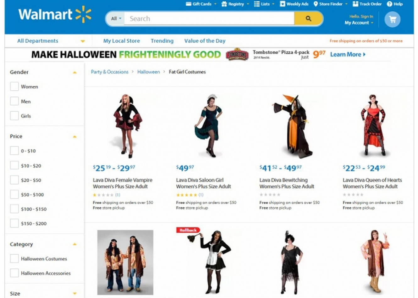 "As of Monday morning, Walmart.com still featured a ""Fat Girl Costumes"" section. It has since been replaced."