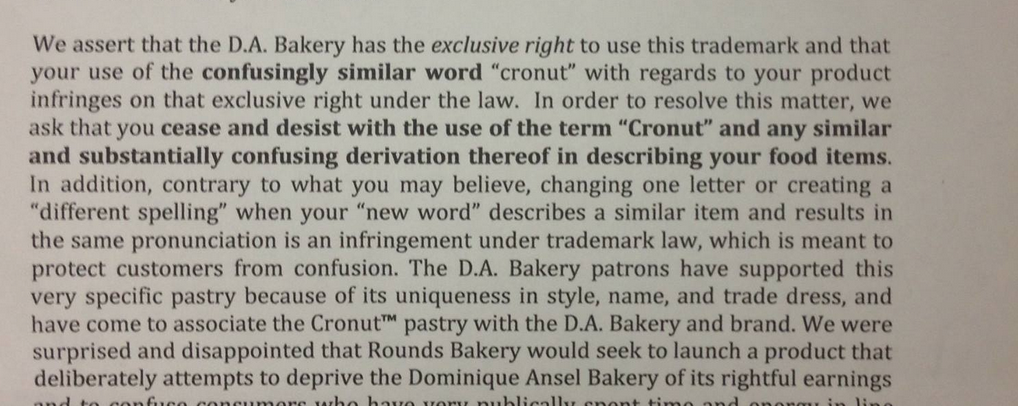 from the cease and desist letter sent by ansels lawyer to the reno bakery