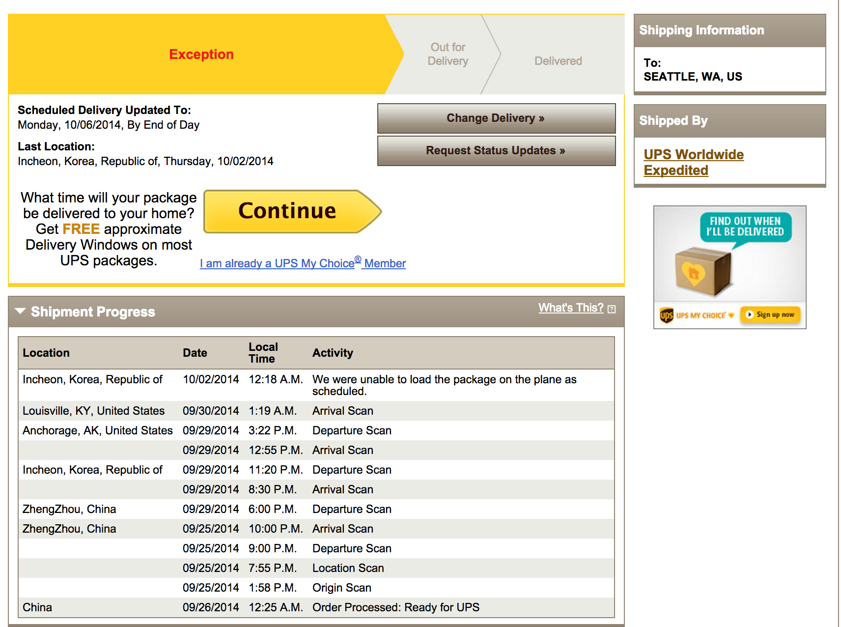 UPS Says My New iPhone Is Almost Here — Oh Wait, They Left It Back In Korea