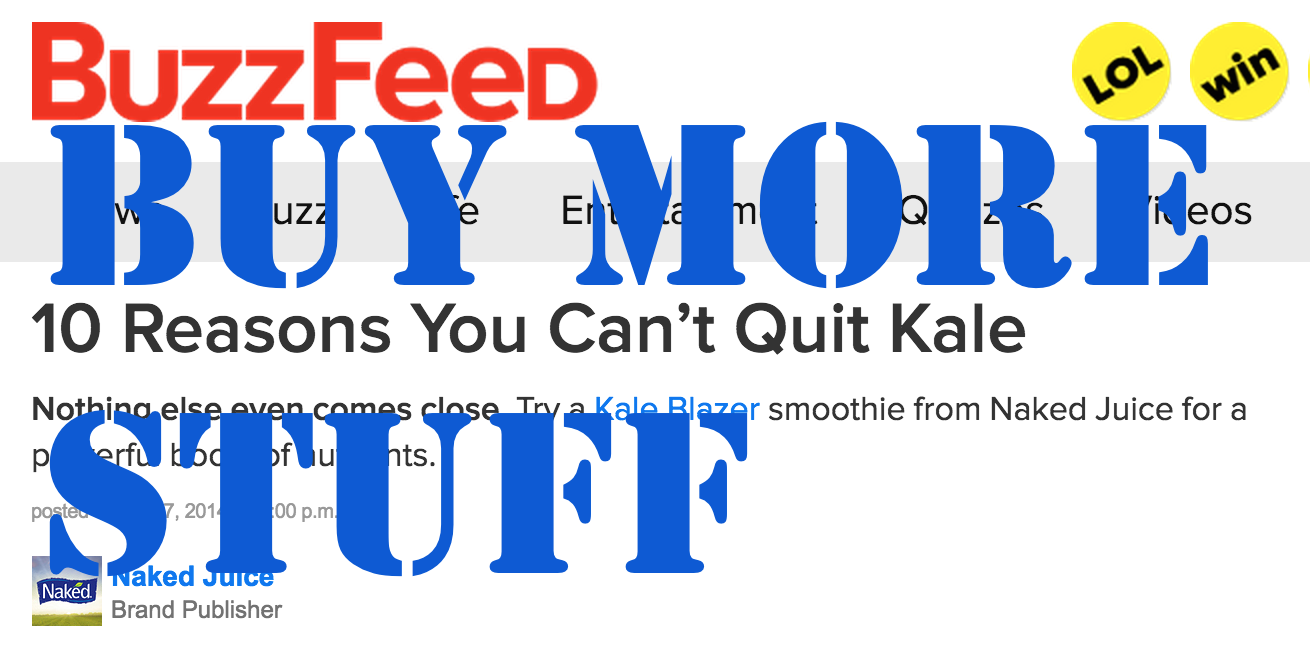 This lovely story -- which grossly overestimates my affection for kale -- is currently sitting at the top of the Buzzfeed homepage. Expect to me 34% more of this kind of crap in the coming year... You were warned.