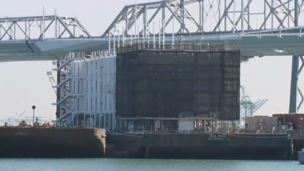 The Google barge in San Francisco Bay in 2013. It's since been towed to Stockton, CA, where it sits idle.