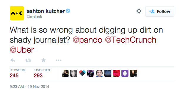 "Uber Investor Ashton Kutcher Sticks Up For Executive Who Wanted To Look Into ""Shady Journalists"""