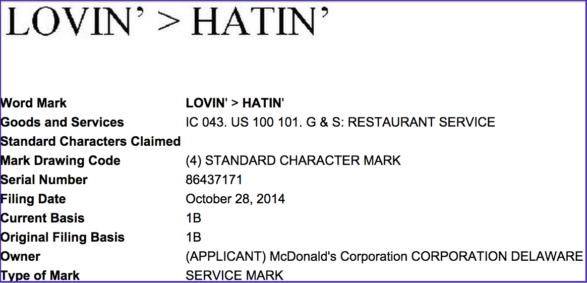 """Lovin' > Hatin'"" beats ""Lovin' Beats Hatin'"" in a showdown of the awful, awful slogan ideas that McDonald's is kicking around."