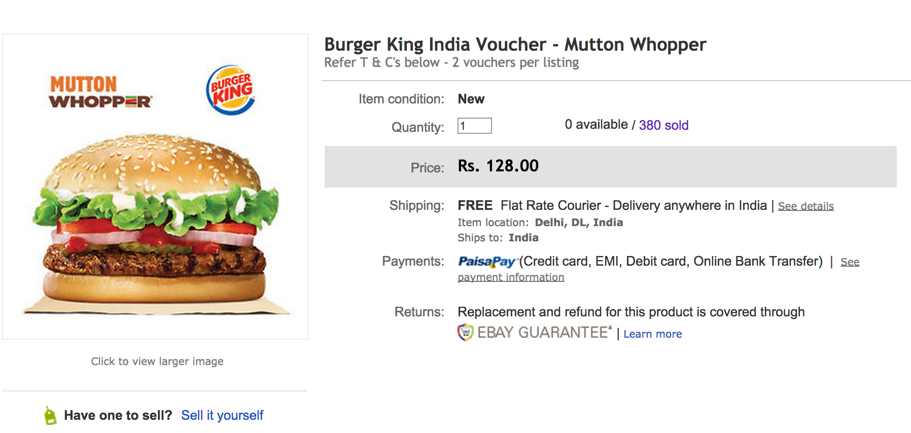 The eBay India listing for the Mutton Whopper. BK India sold 380 vouchers in advance of this coming Sunday's opening in New Delhi.