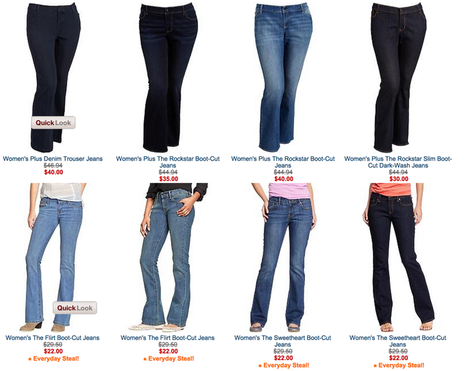 Old Navy will continue to charge more for certain plus-size items -- like the jeans seen in the top row here -- but will change its return policy and create a focus group of fuller-figure customers.
