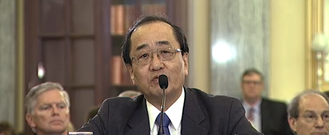 Hiroshi Shimizu, enior Vice President, Global Quality Assurance Takata Corporation, answered questions during a Senate committee hearing regarding defective airbags.