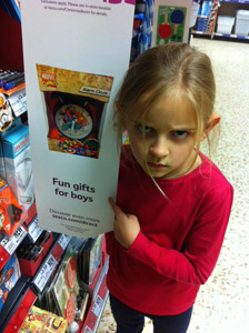 7 year old girl questions fun gifts for boys sign at tesco consumerist