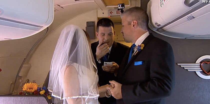 A Louisville couple got hitched on a Southwest Airlines flight over the weekend.