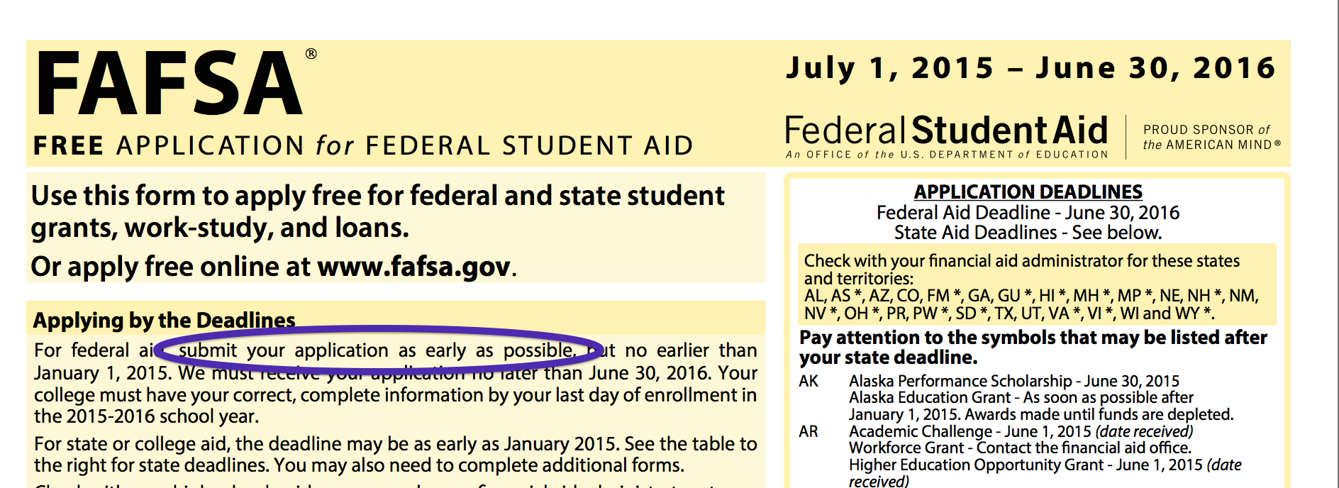 FAFSA deadlines vary wildly from state to state and from school to school, so it just makes sense to get yours filled out right away.