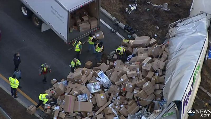 FedEx Truck Rollover Spills Packages On New Jersey Highway
