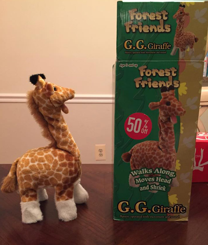 Mechanical Giraffe Escapes From Hell, Sold At Discount Toy Store