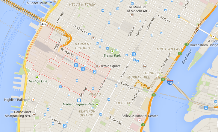 Here's a Google map showing the current delivery area for Prime Now service.